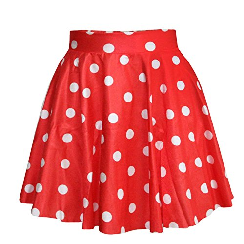 SAYM Women Girls Stretchy Polka Dot Flared Casual Mini Skirt, Red, One Size