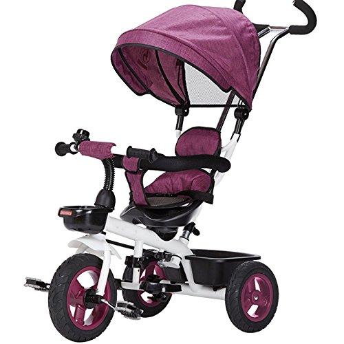三輪車の赤ちゃんキャリッジバイク子供のおもちゃの車のチタンの空の車輪の自転車3つの車輪、保護的な天井、シートステアリング(ボーイ/ガール、1-3-5歳) (色 : パープル ぱ゜ぷる) B07DV7XKJR パープル ぱ゜ぷる