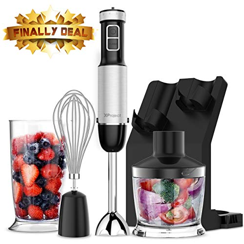- XProject 800W 4-in-1 Hand, Powerful Immersion Blender with 6 Speed Control,500ml Chopper,Whisk,Beaker 700ML,Storage Stand for Kicthen, HB-2075, Black