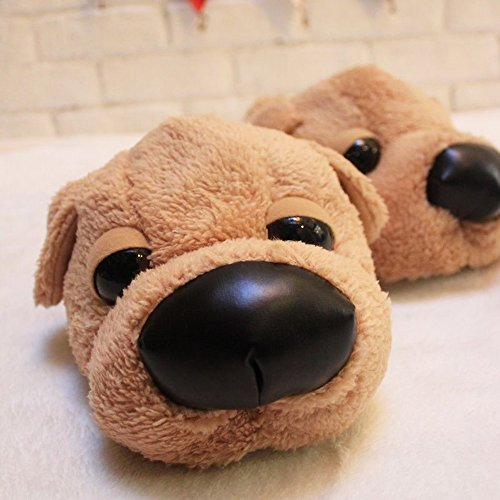 Womens Dog Non-slip Indoor Warm Fleece Slippers,Lovely Cartoon Winter Soft Cozy Booties Fuzzy Plush Mules Home Bedroom Dog