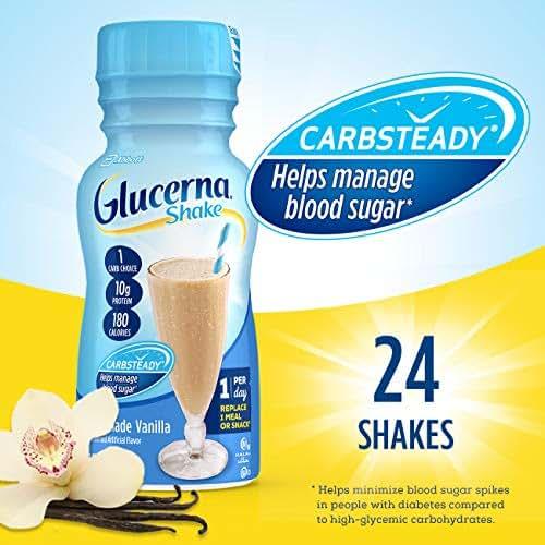 Glucerna, Diabetes Nutritional Shake, To Help Manage Blood Sugar, Homemade Vanilla, 8 fl oz (Pack of 24)