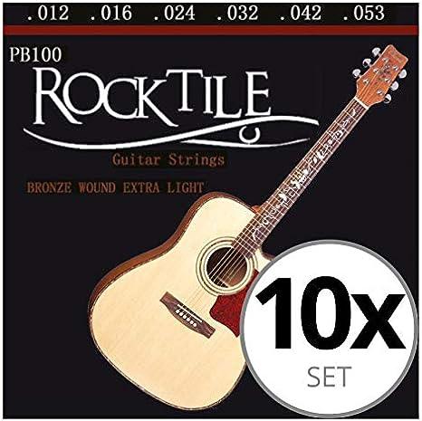 Rocktile cuerdas para guitarra acústica ligeras pack de 10: Amazon.es: Instrumentos musicales