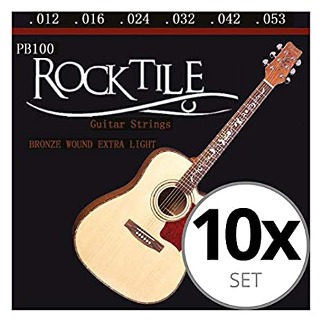 Rocktile cuerdas para guitarra acústica ligeras pack de 10: Amazon ...