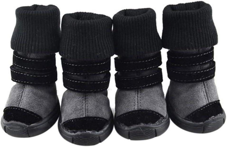 Ydfq Mascotas Invierno Invierno Zapatos de Animales Cuero Antideslizante Cachemir Suave Botas Impermeables Calientes Tendencia fría (Color : Black, Size : XL)