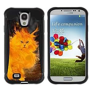 iKiki Tech / Estuche rígido - Fire Cat Painting Heart Yellow Flames - Samsung Galaxy S4 I9500