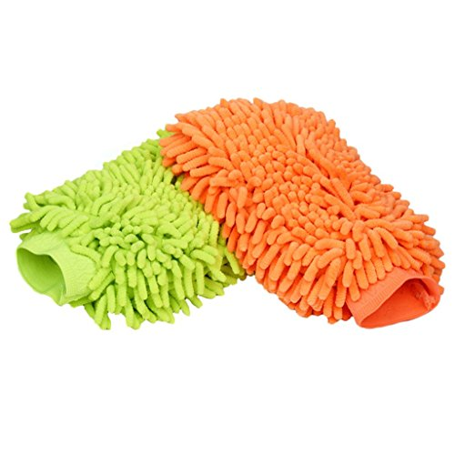 2 Pack Chenille Microfiber Premium Scratch Free Wash Mitt - Colors May Vary (Car Wash Mitt On Stick compare prices)
