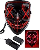 #3: heytech Halloween Scary Mask Cosplay Led Costume Mask EL Wire Light up for Halloween Festival Party