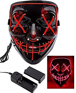 heytech Halloween Scary Mask Cosplay Led Costume Mask EL Wire Light up for Halloween Festival Party (Red)