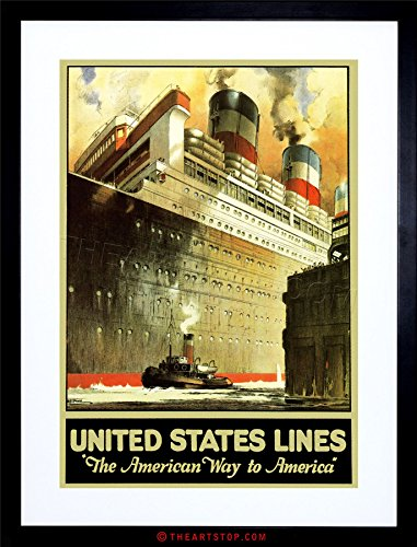 Cruise Art Deco Print (TRAVEL US LINES CRUISE LINER SHIP DOCK OCEAN TUG BOAT FRAMED PRINT F12X7305)