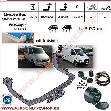 AHK Remolque con eléctrico de 13 pines para Mercedes Sprinter/VW LT 28 - 35 95 - 06 anhängev orrichtung - Colgar fijo, con angeschraubtem Rótula: Amazon.es: ...