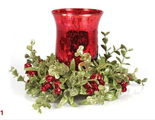 Ganz Kissing Krystals Small Red Mecury Glass Hurrican Candle Holder and Mistletoe Set