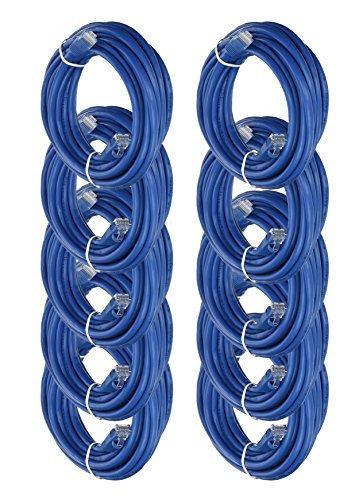 iMBAPrice 15' Cat5e Network Ethernet Patch Cable, 10 Pack, Blue (IMBA-CAT5-15BL-10PK)