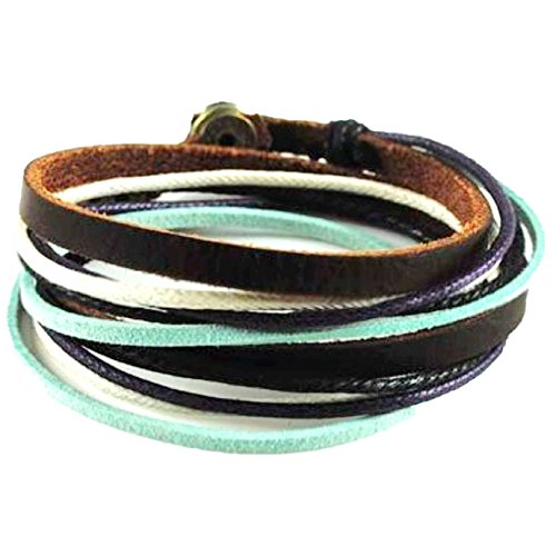 Soft Leather Multicolour Ropes Women Leather Bracelet Women Wrap Cuff Bracelet SL2284 by COOLLA
