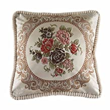 "Classic Jacquard Embroidery Decorative Cotton Linen Throw Pillow Cushion Cover 20""x20"" Pattern11"