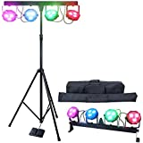 DragonX 4 Bar LED mobile DJ lighting packages w/free lighting stand, foot panel and carrying bag Stage Wash Light System