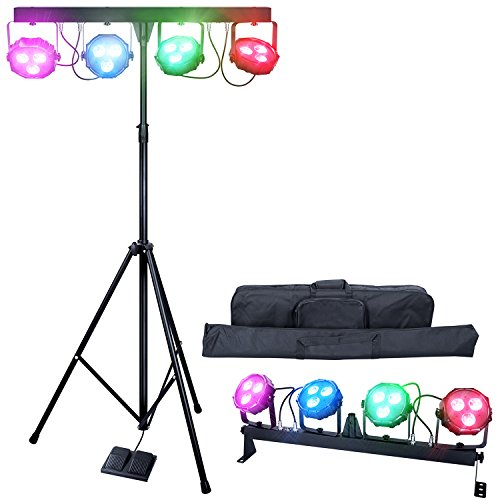 DragonX 4 Bar LED mobile DJ Stage Lighting Packages/Portable Par Can Kit Gig Spotlight Bar Set/Sound Activated Wash Flex Light Party (Mobile Dj Package)