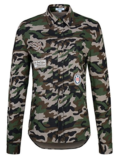 7 Up Green (Escalier Women's Patchwork Camouflage Army Long Shirt Coat (10, Green Camouflage ))