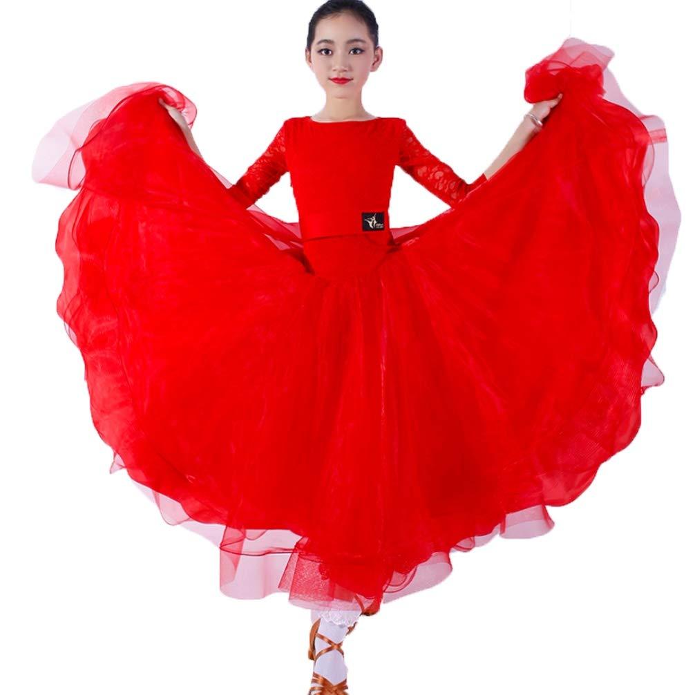 Nationale Ballsaal Tanzkleider für Mädchen Wettbewerb Tanzbekleidung Spitzen-Ärmel Modern Tangotanz Kinder Walzer Performance Kostüm B07KB1CHTQ Bekleidung Leidenschaftlicher Sport, niemals aufhören