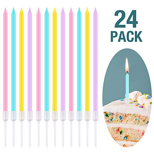 Frienda Metallic Birthday Cake Candles in Holders Long Thin Birthday Candles Cupcake Candles Wedding Party Cake Decorations (Pink, Yellow, Blue and Purple, 24 Pieces)]()