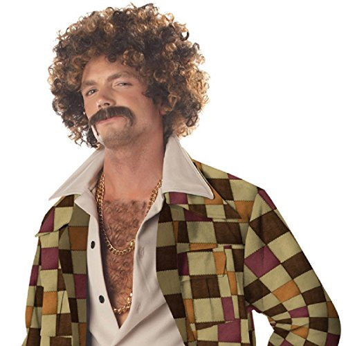 Disco Dirt Bag Wig & Moustache Costume -