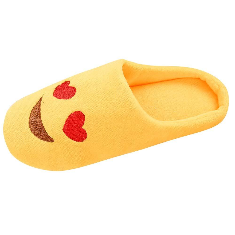 Women Men Warm Emoji Slipper Indoors Anti-Slip Winter Striped House Shoes