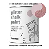 Hemway Candy Floss Chalk Paint (with Rose Gold Glitter) Sparkle Matt finish Wall and Furniture Paint 1L / 35oz Shabby Chic Vintage Chalky Crystal (25 Glittery Colours Available)