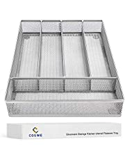 5 Compartments Steel Metal Mesh Drawer Organizer Kitchen Cutlery Trays Silverware Storage with No-Slip Foam Feet - Kitchen Organization