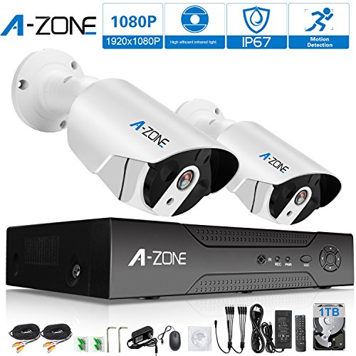A-ZONE 4ch HD-TVI 1920x1080P Video Security System DVR and (2) 1080P Indoor/Outdoor Weatherproof Cameras with IR Night Vision LEDs- with 1TB HDD,White