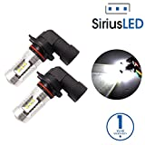 SiriusLED Bright 22W XB Chipset LED Lights Bulbs with Projector for Car Fog Lights Daytime Running DRL 9005 9145 HB3 H10 6000K Xenon White