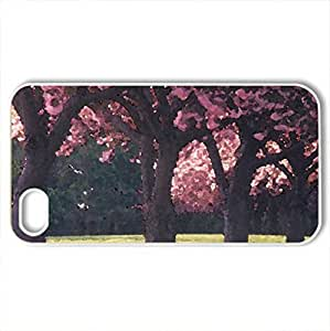 Blossoming trees - Case Cover for iPhone 4 and 4s (Watercolor style, White)