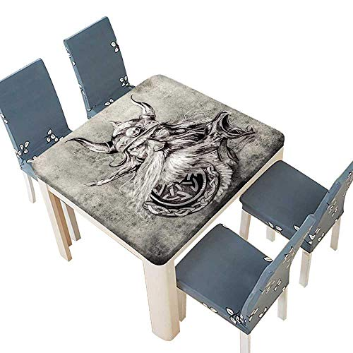 PINAFORE Table in Washable Polyeste Tattoo istic Pencil Drawing a Brave Viking Warrior his ArmourImage Grey White Washable Tablecloth 53 x 53 INCH (Elastic Edge) -