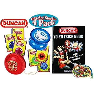 Duncan Yo-Yo Imperial, Butterfly, Trick Book & 10 Strings Deluxe Gift Set Bundle - 4 Pack (Assorted Colors): Toys & Games