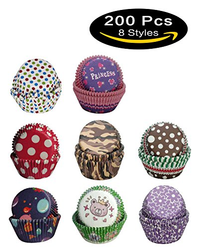 SophieBella Cupcake-Liner Baking-cups for Party Holiday, 200 pcs 8 kinds