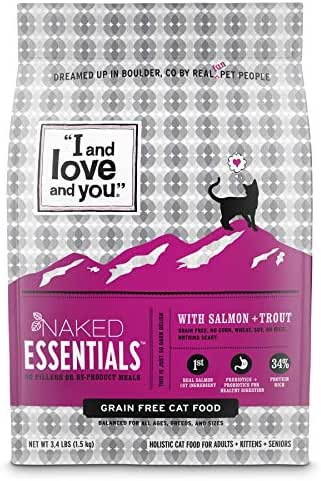 I and love and you Naked Essentials Dry Cat Food - Grain Free Kibble, Salmon + Trout, 3.4-Pound Bag