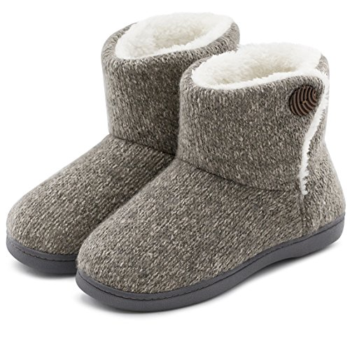 ULTRAIDEAS Womens Soft Yarn Cable Knit Bootie Slippers Memory Foam Indoor & Outdoor Shoes w/Adjustable Suede Lace (Medium / 7-8 B(M) US, Gray)