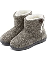 Women's Comfort Woolen Yarn Woven Bootie Slippers Memory Foam Plush Lining Slip-on House Shoes