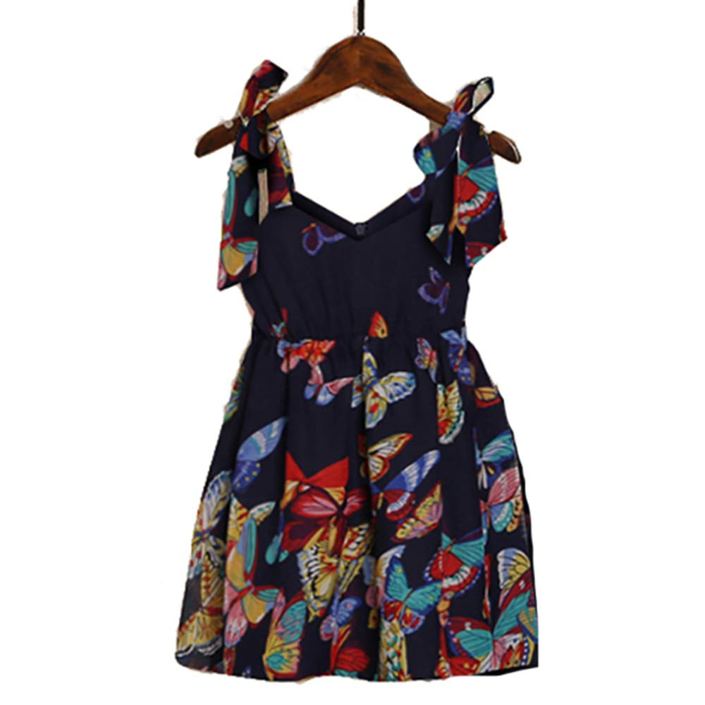 Mumetaz Mommy and Me Dresses Sweet Floral Print Bowknot Halter Shoulder-Straps Chiffon Dress