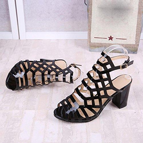 Women Toe Sexy Sandals Shoes Mid Gladiator Peep Ladies Heel Summer Ankle Heels Black Shoes Fashion rHqwxr