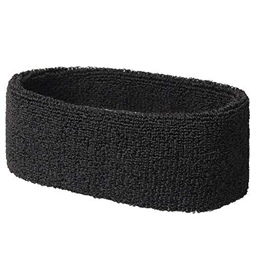 Lvcky 3 Pack Sports Headband, Black Head Sweatbands/Moisture Wicking Head Band for Men amp; Women, Basketball Headband/Terry Headband for ()