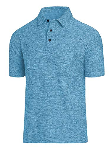 - Men Polo Shirts, Dry Fit Short Sleeve Athletic Golf Polo Shirts for Men (M, Sky Blue)
