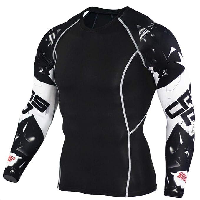online store e0ad0 ebebc JEELINBORE Maglietta Maniche Lunghe Uomo T-Shirt Maglie ...