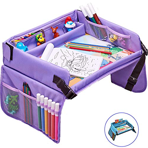 Kids Travel Play Tray – Activity, Snack, Play Tray & Organizer for Car Seat, Stroller Or Airplane Traveling – Keeps Children Entertained – Portable and Foldable + Free Bag & E-Book by KBT (Purple)