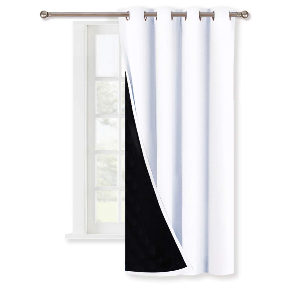White 100% Blackout Lined Curtain - NICETOWN 2 Thick Layers Completely Blackout Window Treatment Thermal Insulated Drapes for Kitchen/Bedroom (Single Piece, 52 Width x 63 Length)