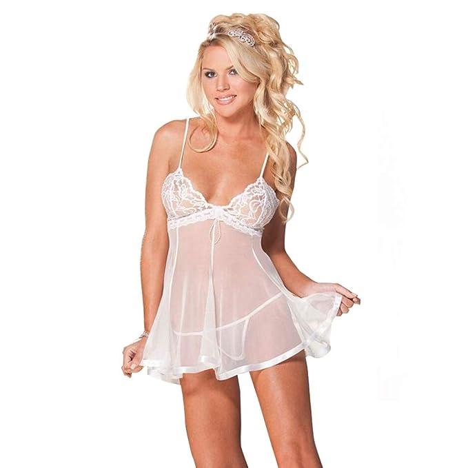 EVBEA Lencería Mujer Erótica Babydoll con Tanga Ropa Interior Dormir Sexy  Vestido Camisones Encaje con Cordón Pijamas Femenina Hot Lencería  Tentación  ... 589d694e8ab3