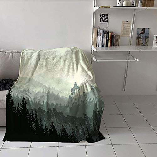 Children's blanket Digital Printing Oversized Travel Throw Cover Blanket (35 By 60 Inch,Forest,The Panorama of a Valley and Mystic Forest of Pine Trees Nature Theme,Egg Shell and Sage - Linens Mystic Valley