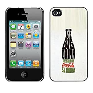 Planetar® ( Big Drink Bottle Soda Pop Calligraphy ) iPhone 4 / 4S Fundas Cover Cubre Hard Case Cover
