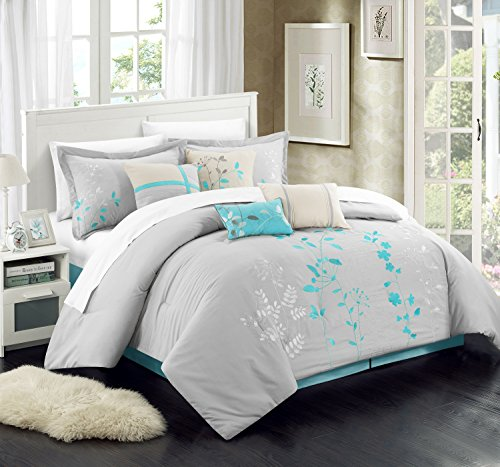 liss Garden Embroidered Comforter Set, Turquoise, King ()