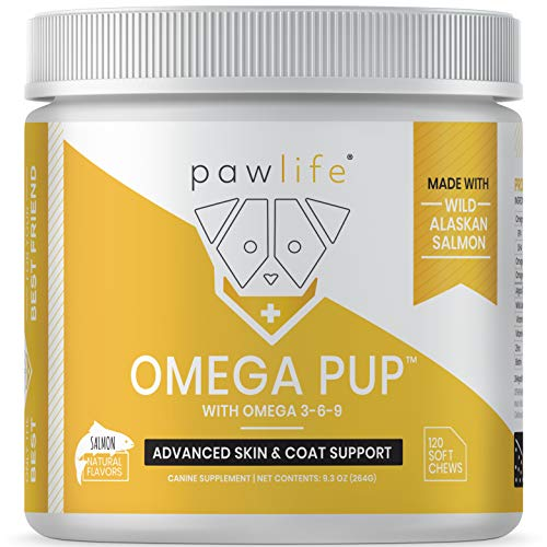 (pawlife Omega 3 for Dogs - Salmon Fish Oil Supplement formulated with Omega 3 6 and 9 for Dog Skin, Coat and Allergy Support from Wild Alaskan Salmon Oil - 120 Salmon Flavor Soft Chews)