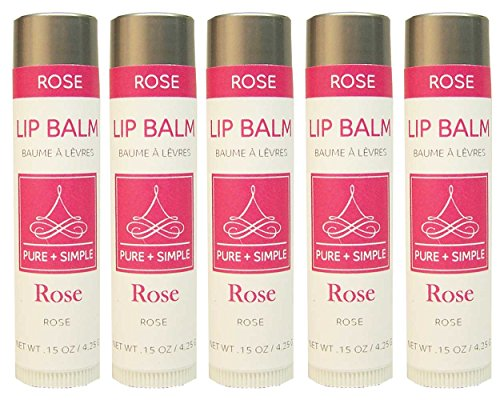 PURE + SIMPLE Rose Lip Balm Collection, Vegan, Set of 5 Tubes, Avocado Butter, Jojoba Oil, Vitamin E Complex Healing Treatment
