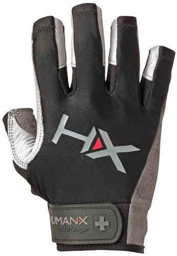 HumanX Men's X3 3/4 Finger Competition Glove, Gray/Black, Small by HumanX